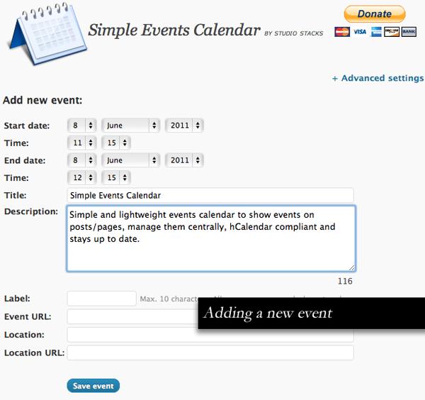 Simple Events Calendar for WordPress