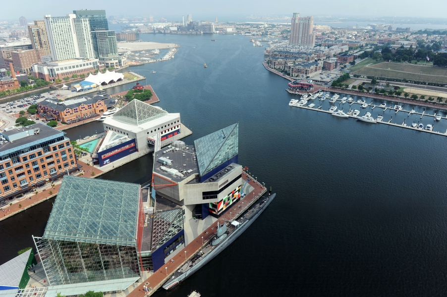 Aerial view of Baltimore Harbor on a sunny day would be perfect for a conference or event